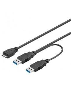 Cable USB 3.0 2 USB A Macho / MICRO B Macho 30 CM