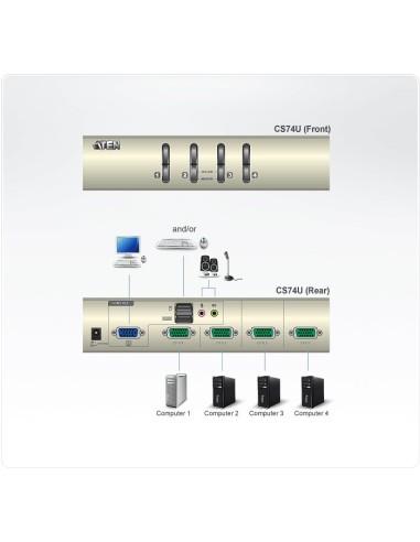 ATEN CS74U Conmutador KVM de tipo USB...
