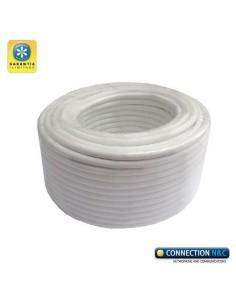 Cable RG59 Mini+2x 0.5 100m RG59+ aliment. blanco