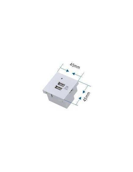 Módulo Carga 2 x USB 45x45mm